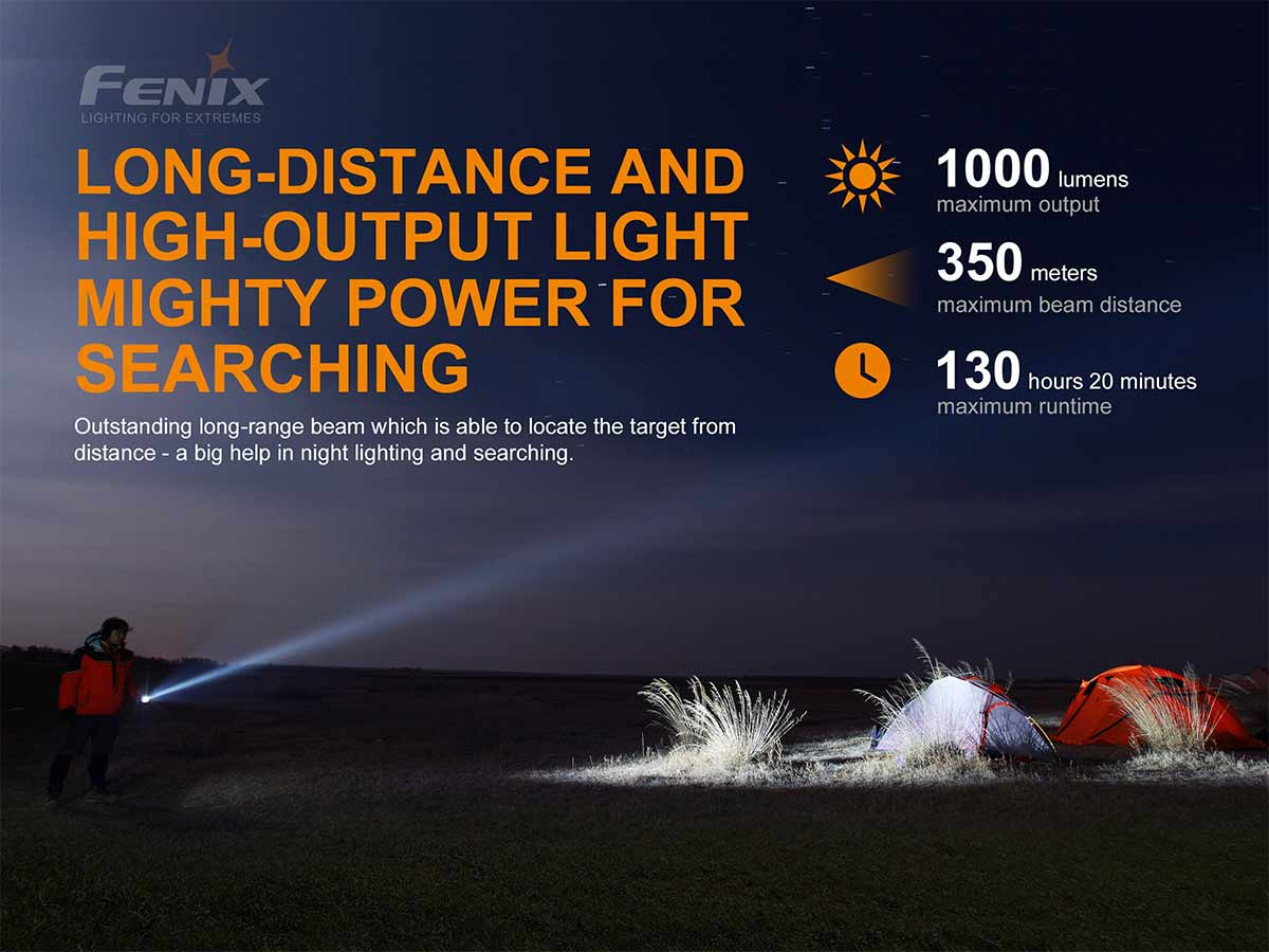 fenix manufacturer slide about the max lumens, beam distance, run time, man is shown at night shining the flashlight on tents off to the right