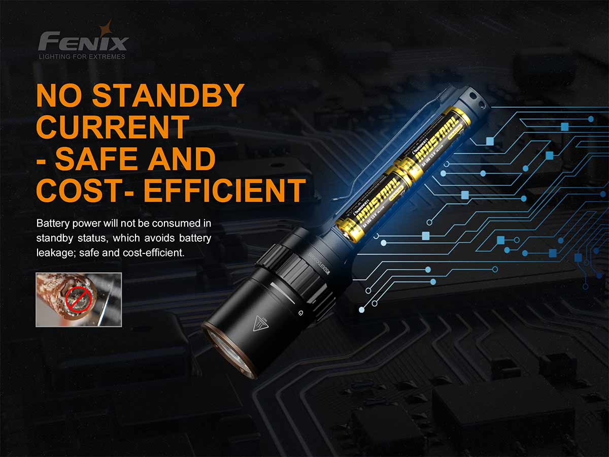 fenix manufacturer slide about the no standby current feature, internal view of flashlight and batteries with circuitry imaging in background