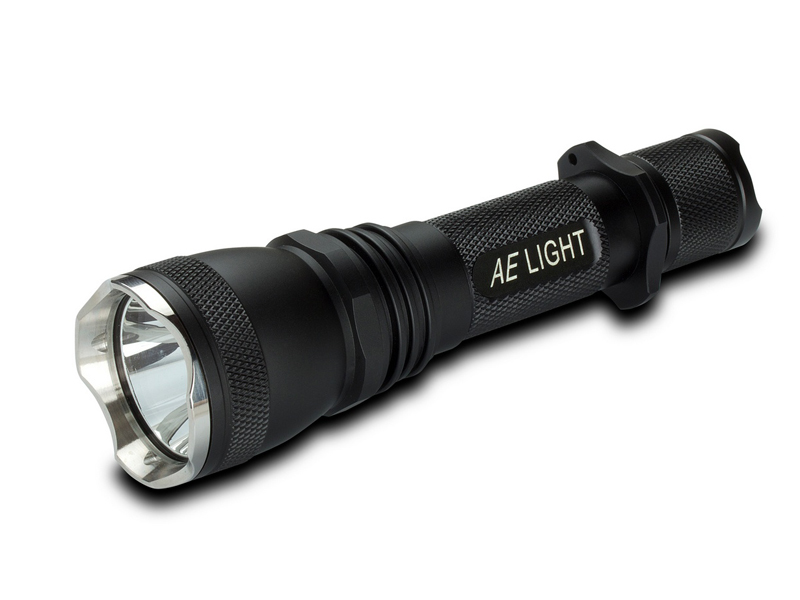 AE Light AEL600 Tactical Flashlight at a side angle