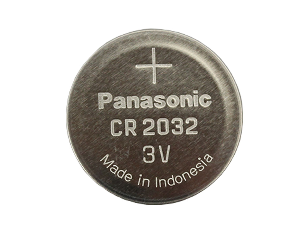 Top down shot of Panasonic CR2032 battery