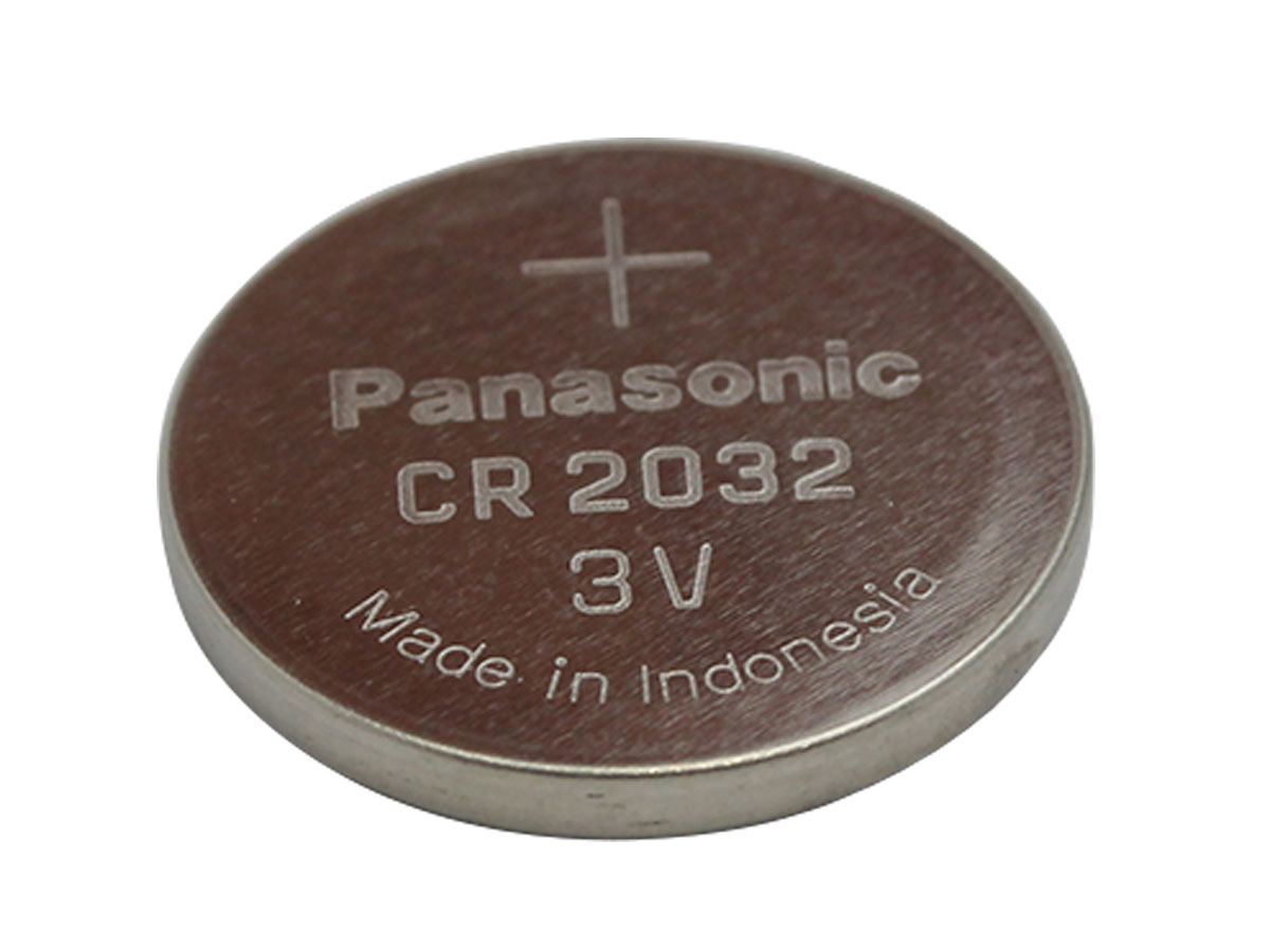 bottom angled shot of Panasonic CR2032 battery