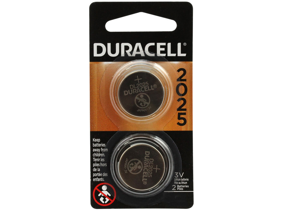 2 pack retail card for Duracell CR2025