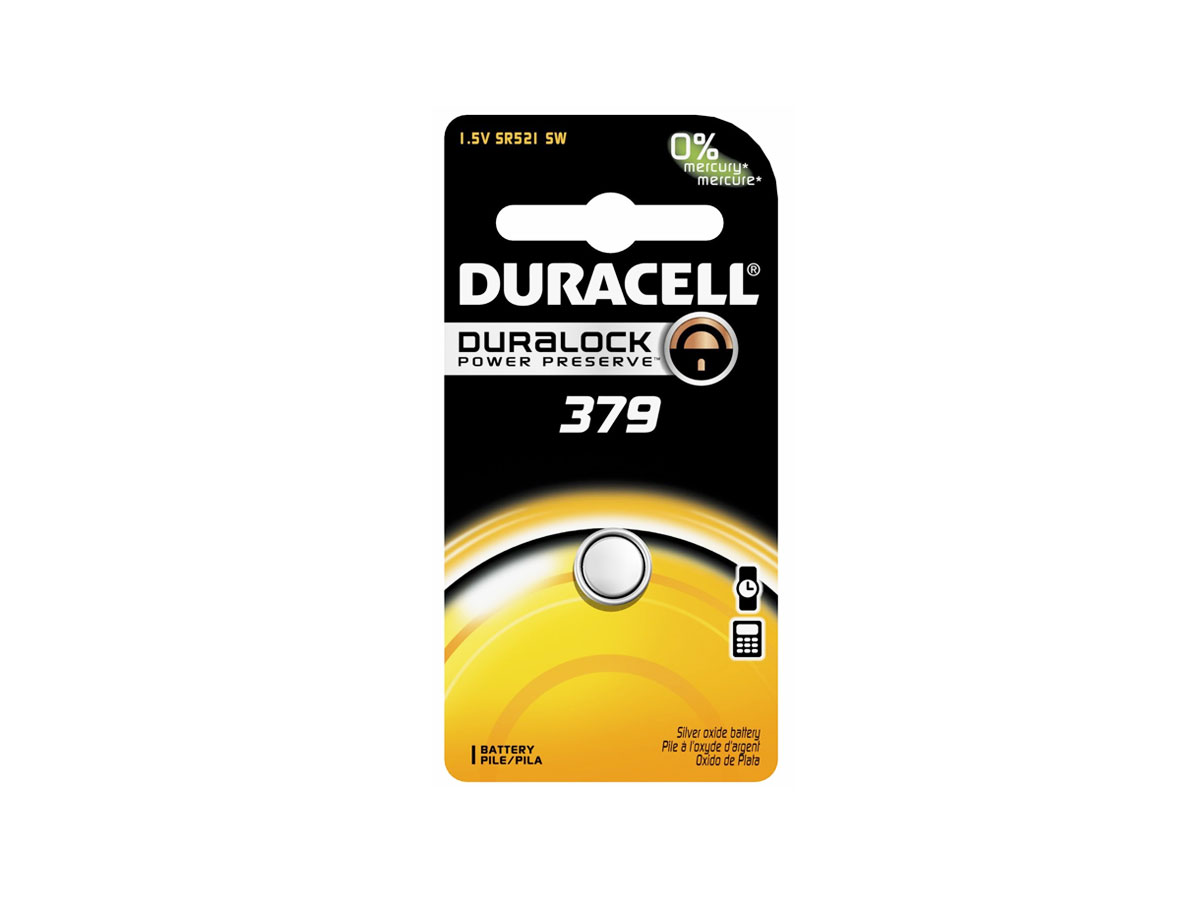 Duracell D379 button cell in retail card