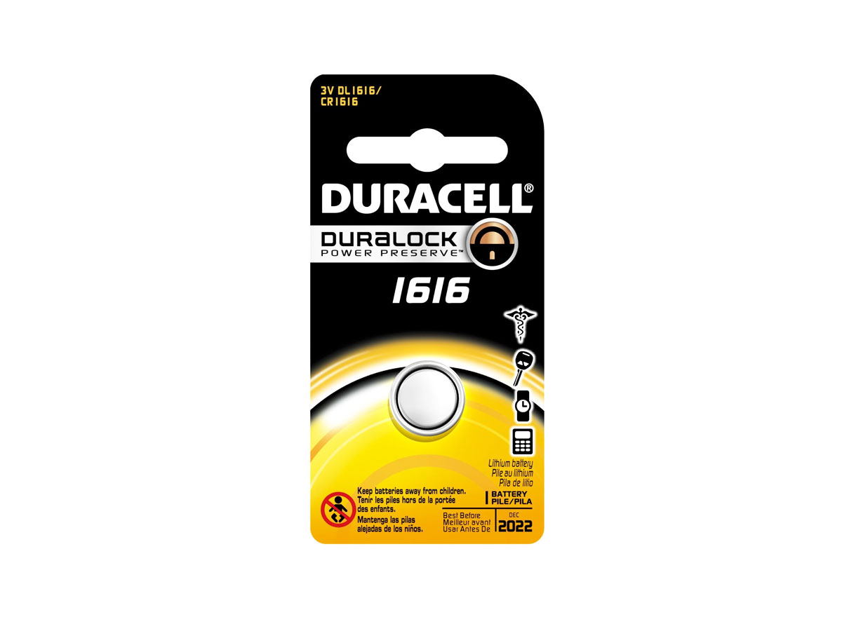 Duracell CR1616 coin cell in retail card