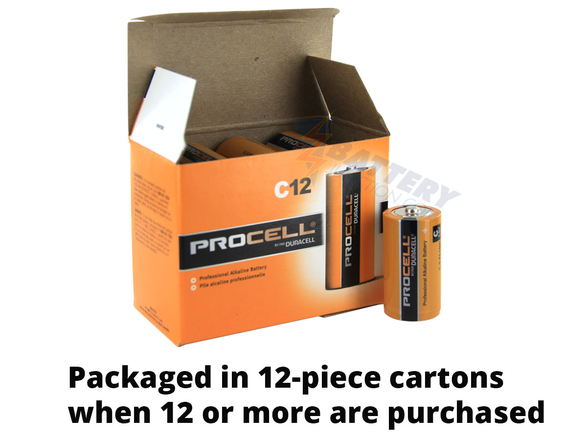 Size comparison between single Duracell Procell C battery and 12-pack box