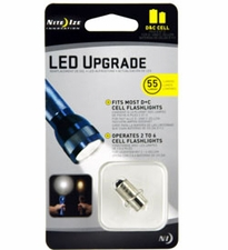 Nite Ize LED Upgrade Kit - 55 Lumens - Fits D and C Cell Flashlights (LRB2-07-PR)