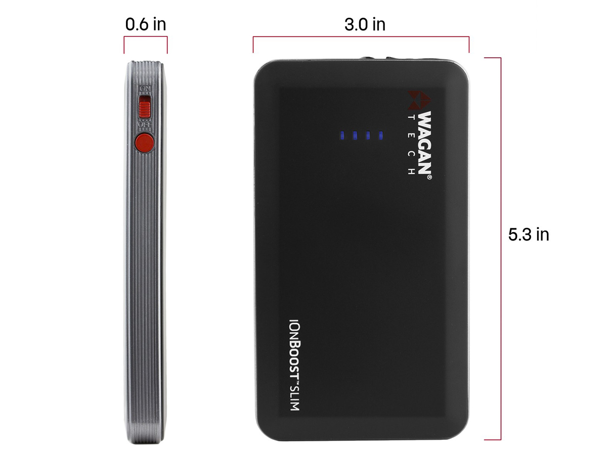 iOnBoost Slim Lithium Jumperstarter with dimensions featured on picture