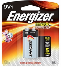 Energizer Max 522-BP 9V Alkaline Battery with Snap Connector - 1 Piece Retail Card