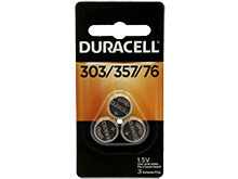 Duracell D303/357, 76A 165mAh 1.5V Silver Oxide Watch/Electronic Button Cell Batteries (D303-357PK) - 3 Pack Retail Card