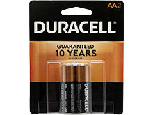 Duracell Coppertop Duralock MN1500-B2 AA LR6 1.5V Alkaline Button Top Batteries - 2 Piece Retail Card