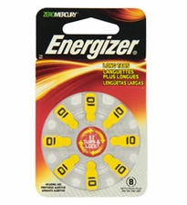 Energizer EZ Turn & Lock AZ10-DP (8PK) Size 10 91mAh 1.45V Zinc Air Yellow Hearing Aid Batteries - 8 Count Blister Pack