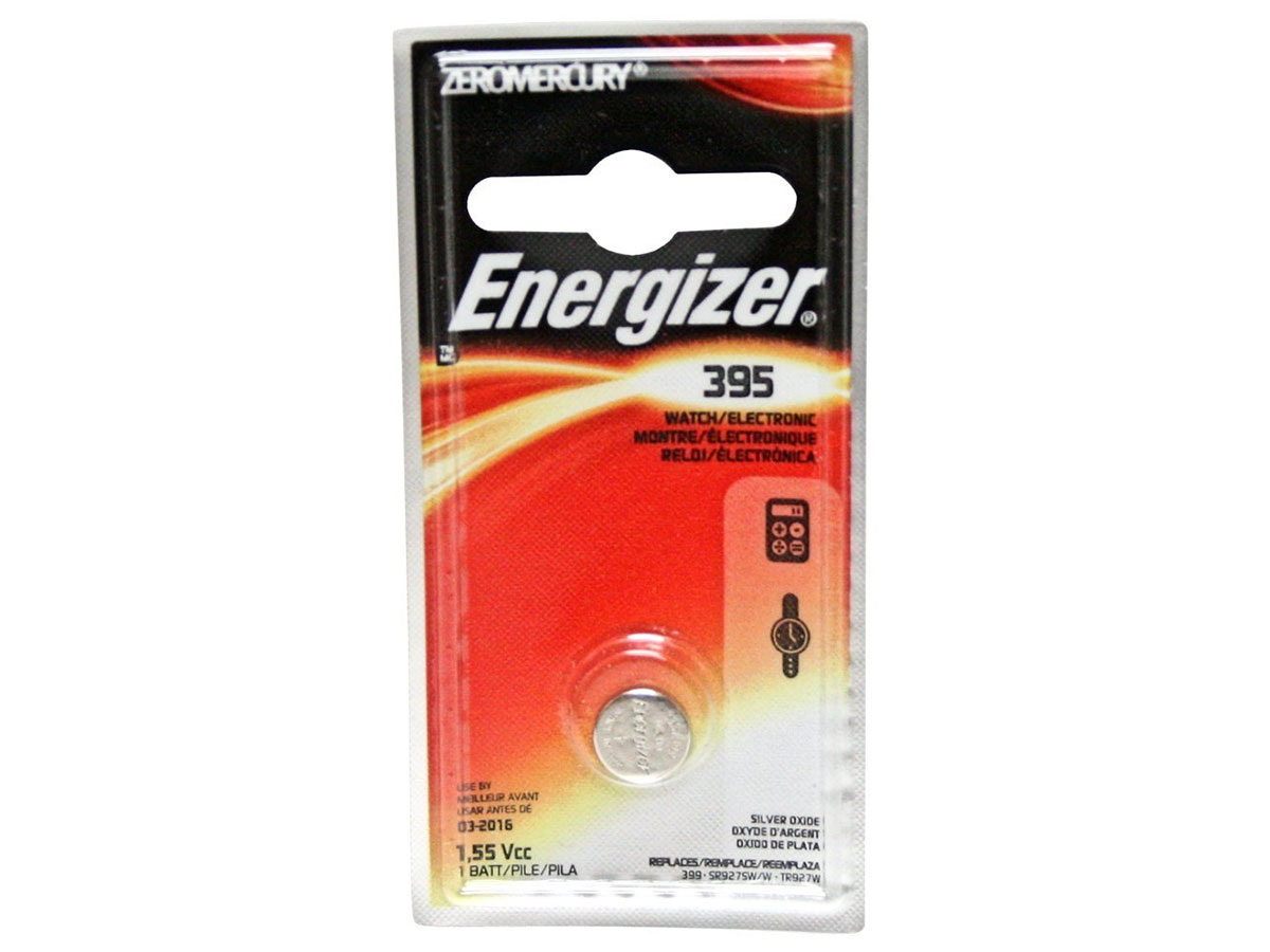 Energizer 395 coin cell in 1 piece blister packaging