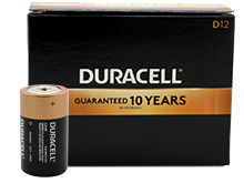 Duracell Coppertop Duralock MN1300 (12PK) D-cell Alkaline Button Top Batteries - Made in the USA - Box of 12