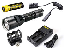Nitecore Chameleon CU6 UV Ultraviolet LED Flashlight Night Hunting Kit with GM02 Weapon Mount, RSW1 Remote Switch, 18650 Battery and Charger -  Fits Picatinny Railed Guns - 440 Lumens
