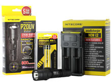 Nitecore P20UV Ultraviolet Flashlight Combo - CREE XM-L2 LED - 800 Lumens - With Battery and Charger
