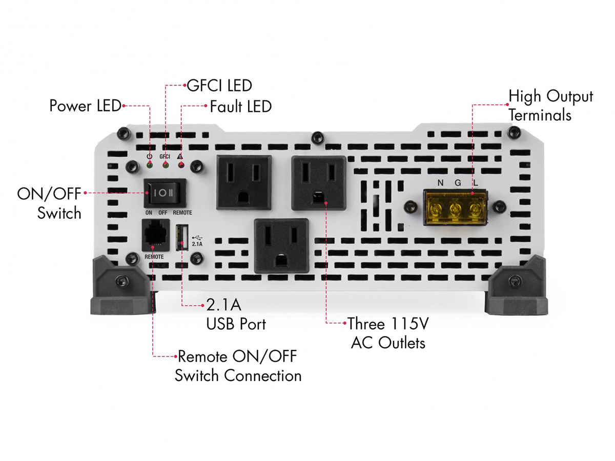 PureLine 3000W Power Inverter with AC outlet diagram