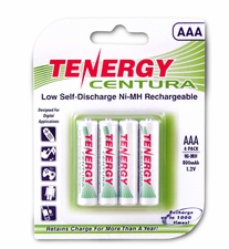 Tenergy Centura LSD 10406 AAA 800mAh 1.2V Nickel Metal Hydride (NiMH) Button Top Batteries - 4 Pack Retail Card