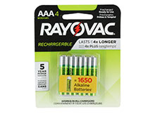 Rayovac Rechargeable LD724-4OPA AAA 600mAh 1.2V Nickely Metal Hydride (NiMH) Button Top Batteries - 4 Piece Retail Card