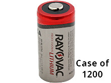 Rayovac CR123A 1400mAh 3.0V Photo Lithium Button Top Batteries (RL123A) - Case of 1200