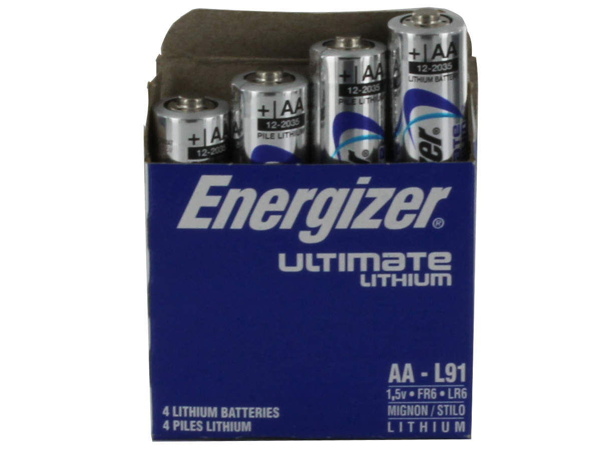4-pack box of Energizer Ultimate L91 AA batteries