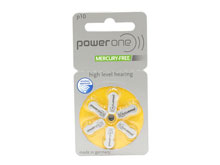 PowerOne P10-6PK-MF (6PK) Size 10 100mAh 1.45V Zinc Air Yellow Hearing Aid Batteries - 6 Pack Retail Card