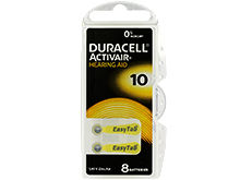 Duracell DA10-B8 (8PK) Size 10 95mAh 1.45V Zinc Air Yellow Hearing Aid Batteries - 8 Piece Retail Card