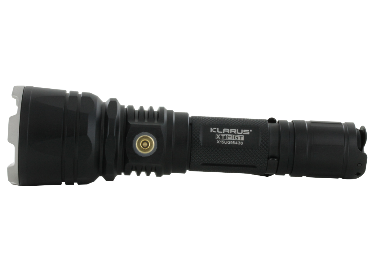 front view of Klarus XT12GT flashlight LED with LED specs and throw distance