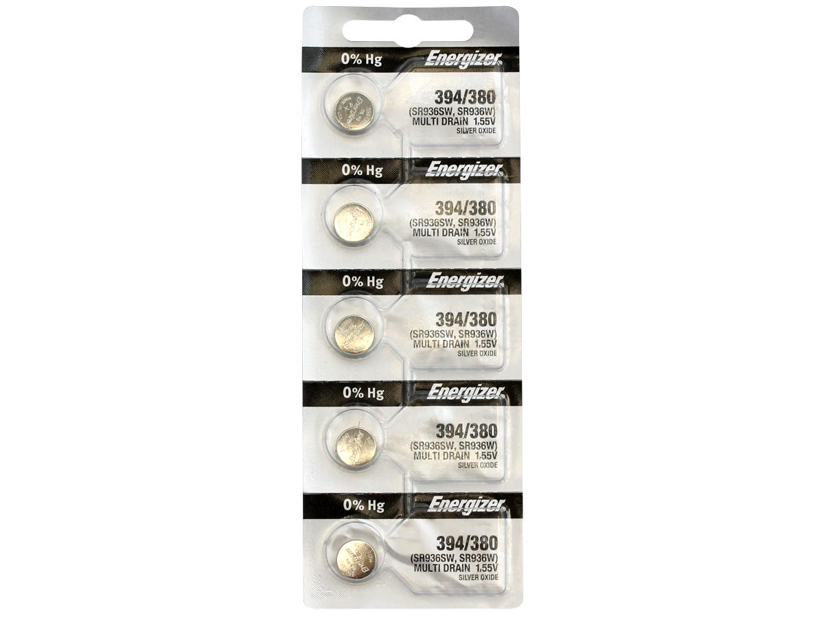Set of 5 Energizer 394 coin cells in tear strip packaging