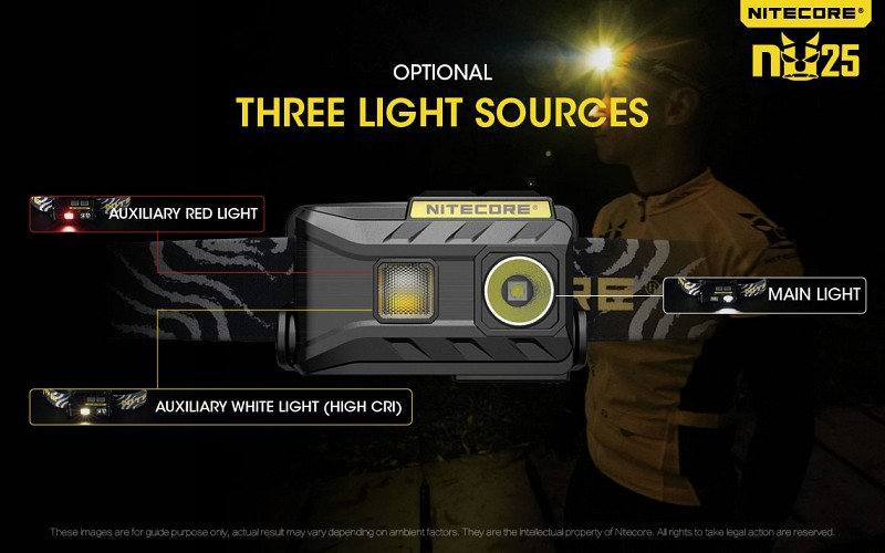 Nitecore NU25 three light sources