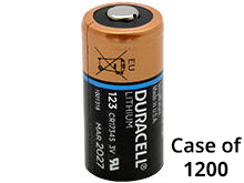 Duracell Ultra DL123A (1200PK) CR123A 1470mAh 3V Lithium Primary (LiMNO2) Button Top Photo Battery - Case of 1200