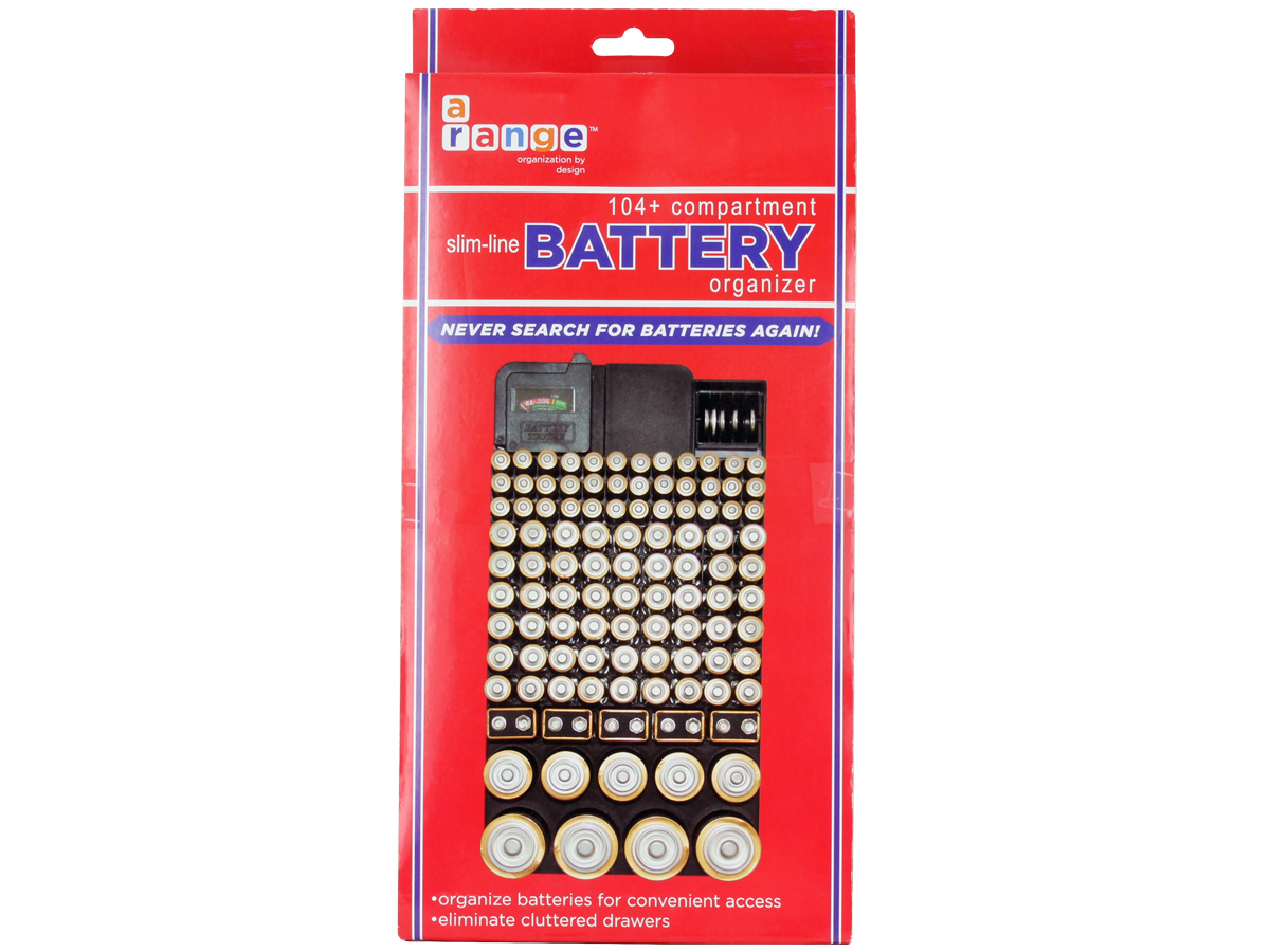 Battery Store Organizer in package