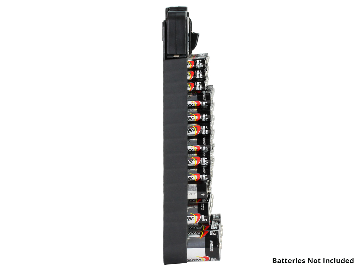 Battery Store Organizer depiction of vertically installed on a wall