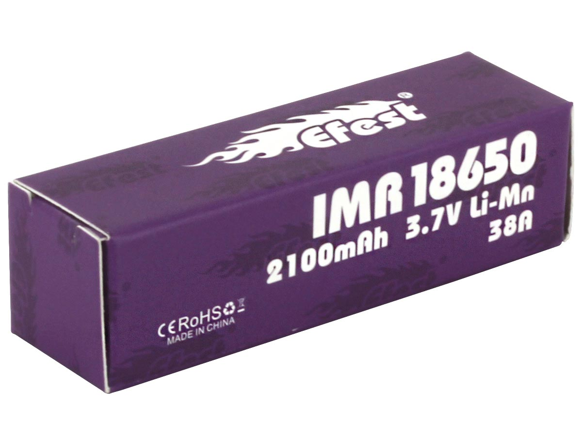 Efest 4334 18650 unprotected flat top battery packaging