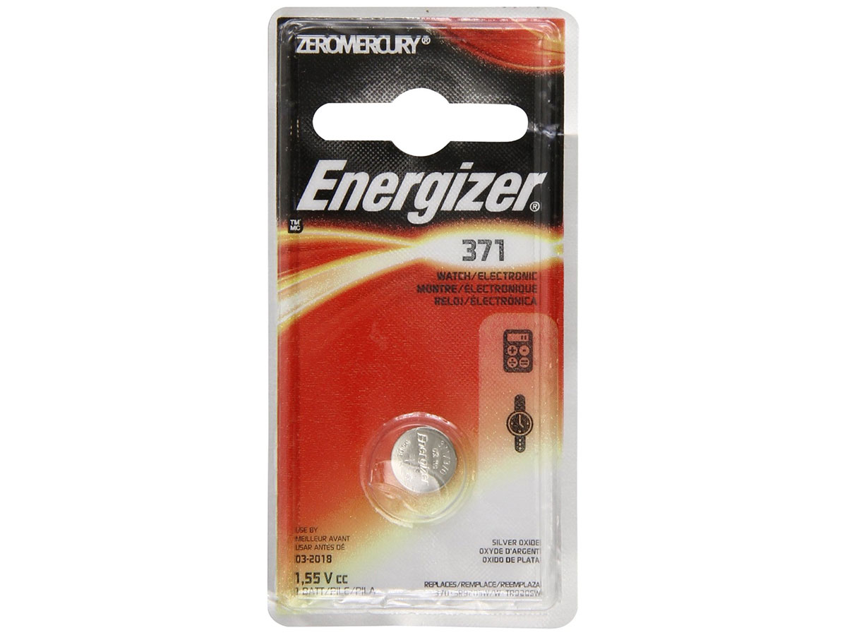 Energizer 371 coin cell in 1 piece blister packaging