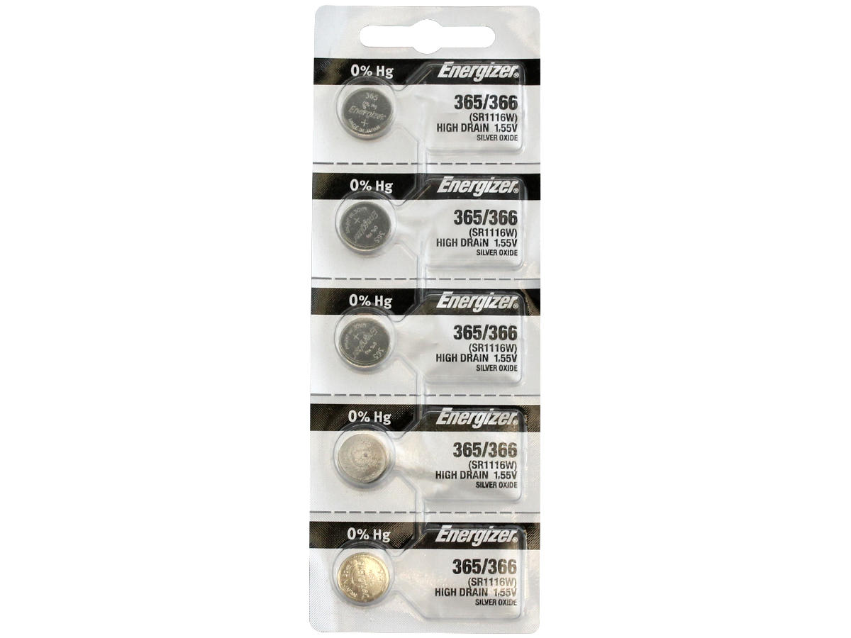 Set of 5 Energizer 365 coin cells in tear strip packaging