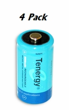 Tenergy 10200 C-cell (4PK) 5000mAh 1.2V  Nickel Metal Hydride (NiMH) Button Top Batteries - 4-Pack