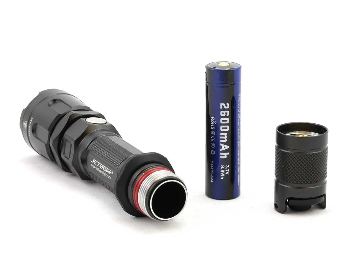 Side view of the flashlight