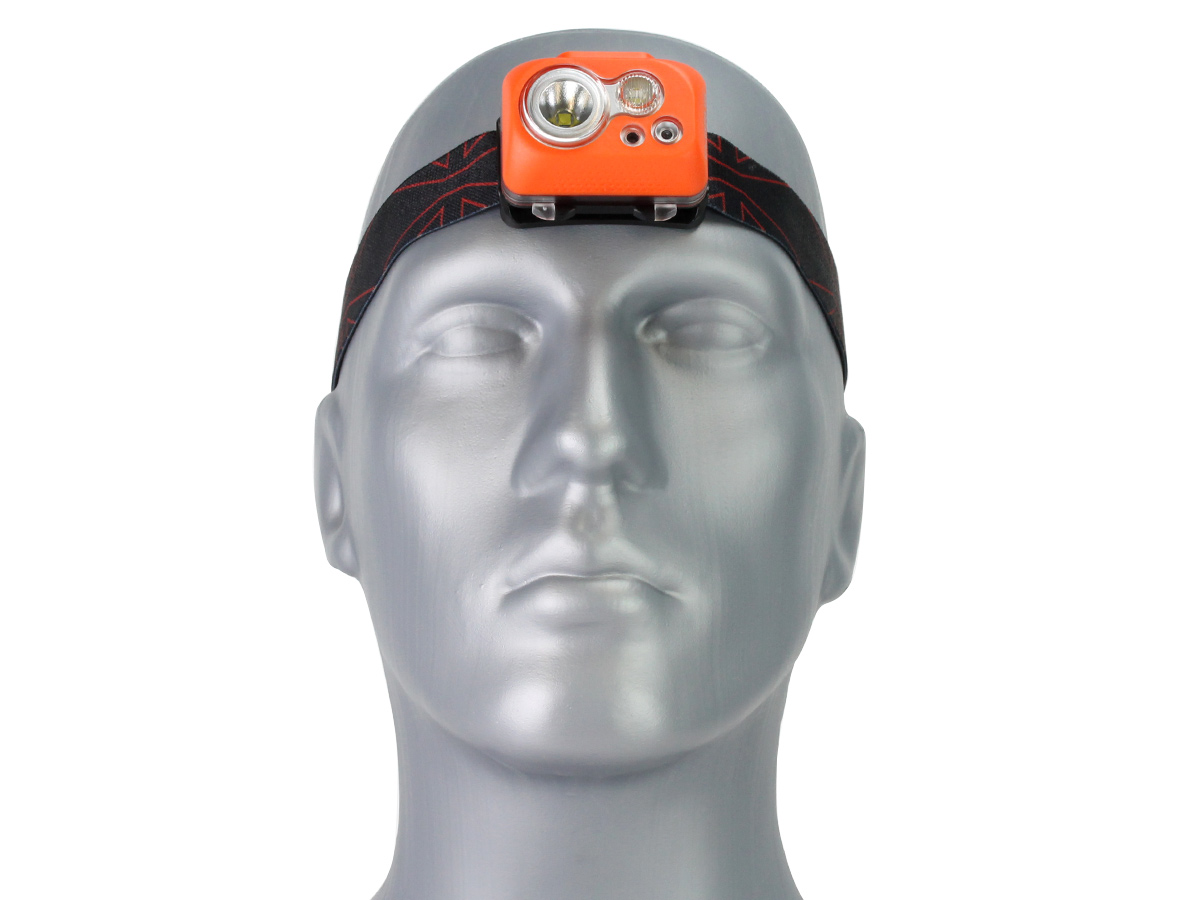 Klarus HC1-S Dual Headlamp with elastic headband on model head looking straight ahead