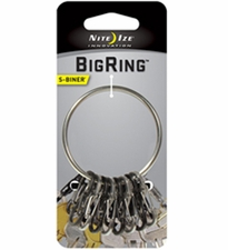 Nite Ize BigRing Steel - 2-Inch Keychain Ring with 8 x Stainless Steel #0.5 S-Biner Carabiner Clips (BRG-M1-R3)