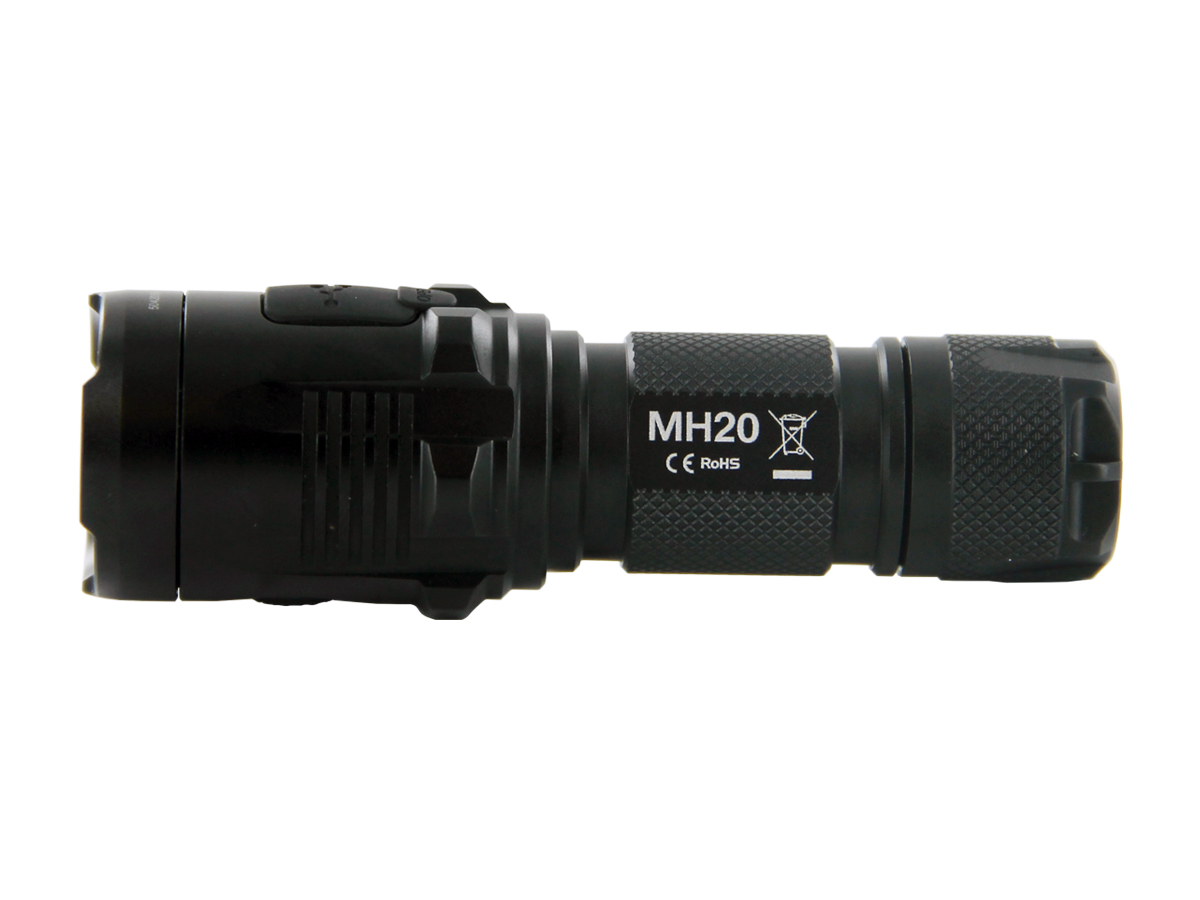 Side Shot of Nitecore MH20 Complete with Diamond Knurling