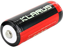 Klarus 26650 5000mAh 3.7V Protected Lithium Ion (Li-ion) Button Top Battery - Plastic Box