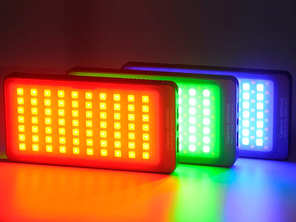 Sunwayfoto FL-70RGB with red, green, and blue lights on