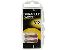 Duracell DA312-B8 (8PK) Size 312 170mAh 1.45V Zinc Air EasyTab Brown Hearing Aid Batteries - 8 Piece Retail Card