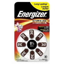 Energizer EZ Turn & Lock AZ312-DP (8PK) Size 312 160mAh 1.45V Zinc Air Brown Hearing Aid Batteries - 8 Count Blister Pack