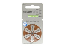 PowerOne P312-6PK-MF (6PK) Size 312 170mAh 1.45V Zinc Air Brown Hearing Aid Batteries - 6 Pack Retail Card