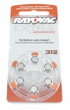 Rayovac 312AE (6PK) Size 312 1.45V Zinc Air Brown Hearing Aid Battery - 6-Pack Retail Card