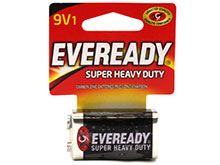 Energizer Eveready Super Heavy Duty 1222-SW 9V 400mAh Zinc Carbon Battery with Snap Connector - 1 Piece Retail Card