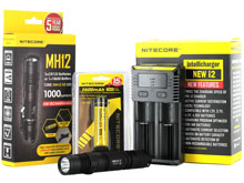 BUNDLE: Nitecore MH12 Tactical Flashlight Combo - CREE XM-L2 LED - 1000 Lumens - with Battery and Charger