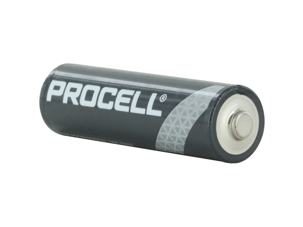 Duracell Procell AA battery back side angle