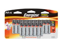 Energizer Max E91-FP-16 AA 1.5V Alkaline Button Top Batteries - 16 Piece Family Pack